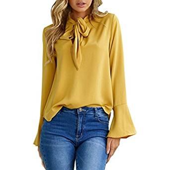 c169e0c68 camisas mujer otoño 2017 casual Switchali moda blusas manga larga ropa de  mujer en oferta vestidos de fiesta Cuello en V camisa manga de la llamarada  blusa ...